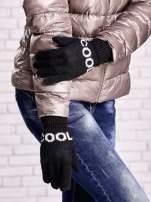 Czarne rękawiczki z napisem COOL i z wywijanym ściągaczem                                  zdj.                                  3