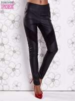 Czarne skórzane spodnie z zamszowymi wstawkami                                                                          zdj.                                                                         1