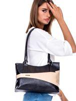 Czarno-beżowa torba damska z przeszyciami                                  zdj.                                  4