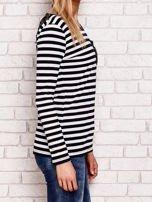 Czarno-biała bluzka w paski z cekinowymi motywami                                  zdj.                                  3