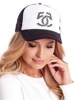 Czarno-biała czapka z daszkiem z siatkową wstawką                                  zdj.                                  1