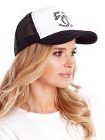 Czarno-biała czapka z daszkiem z siatkową wstawką                                  zdj.                                  2
