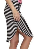 Czarno-biała sukienka w paski z napisem I DON'T THINK ABOUT IT!                                                                          zdj.                                                                         6