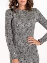 Czarno-biała sukienka z dekoltem z tyłu                                                                          zdj.                                                                         5