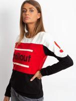 Czarno-czerwona bluza bawełniana z napisem                                  zdj.                                  2