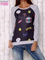 Czarno-szara bluza z komiksowymi motywami