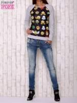 Czarno-szara bluza z nadrukiem emotikonów                                  zdj.                                  2