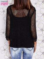 Czarny ażurowy sweter z tiulowym wykończeniem rękawów                                  zdj.                                  4