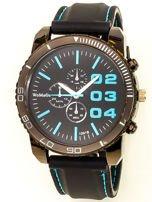 Czarny duży zegarek męski na silikonowym wygodnym pasku z błękitnymi wstawkami                                  zdj.                                  1
