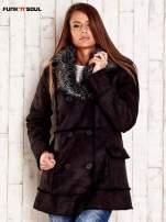 Czarny futrzany płaszcz z włochatym kołnierzem FUNK N SOUL
