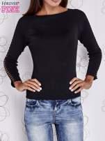 Czarny jedwabny sweter cut out shoulder                                                                          zdj.                                                                         1