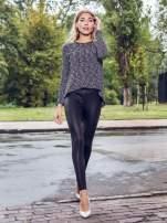 Czarny melanżowy sweter ze skórzaną lamówką przy dekolcie                                  zdj.                                  11
