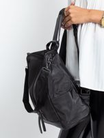 Czarny miękki plecak torba                                   zdj.                                  4