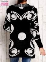 Czarny otwarty sweter z kapturem                                  zdj.                                  2