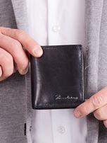 Czarny pionowy elegancki skórzany portfel                                   zdj.                                  3