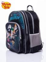 Czarny plecak szkolny DISNEY Fineasz i Ferb z siatkowymi kieszeniami po bokach