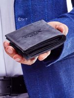 Czarny portfel męski przecierany                                  zdj.                                  4