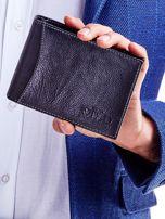 Czarny portfel męski skórzany z łączonych materiałów                                  zdj.                                  1