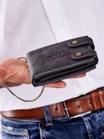 Czarny portfel męski skórzany z łańcuszkiem                                  zdj.                                  2