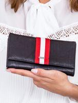 Czarny portfel z kontrastową wstawką w paski                                   zdj.                                  1