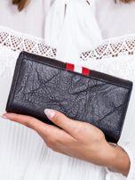 Czarny portfel z kontrastową wstawką w paski                                   zdj.                                  2