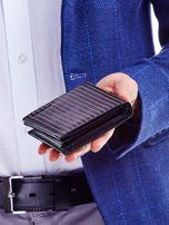 Czarny portfel ze skóry naturalnej w paski                                  zdj.                                  2