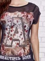 Czarny siateczkowy t-shirt z literą A z dżetami                                  zdj.                                  5
