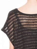 Czarny siatkowy sweterek z metaliczną nicią                                  zdj.                                  7
