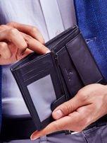 Czarny skórzany portfel dla mężczyzny z niebieskim emblematem                                  zdj.                                  5