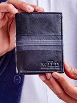 Czarny skórzany portfel męski z wytłoczeniem                                  zdj.                                  1