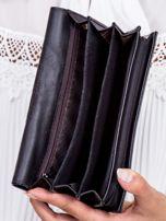 Czarny skórzany portfel z ozdobną wstawką                                  zdj.                                  5