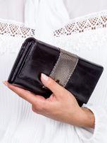 Czarny skórzany portfel z ozdobnym modułem                                  zdj.                                  2
