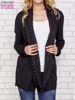 Czarny sweter kardigan z ażurowym przodem                                  zdj.                                  1