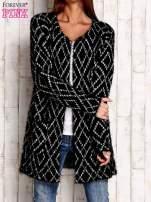 Czarny sweter z geometrycznymi motywami                                                                          zdj.                                                                         1