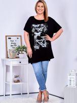 Czarny t-shirt damski w motyle PLUS SIZE                                  zdj.                                  4