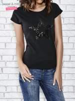 Czarny t-shirt damski z aplikacją gwiazdy z cekinów                                                                          zdj.                                                                         1