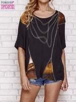 Czarny t-shirt oversize ze złotymi zipami                                  zdj.                                  1