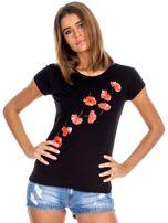 Czarny t-shirt z czerwonymi kwiatami                                  zdj.                                  1