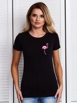 Czarny t-shirt z flamingiem                                  zdj.                                  1