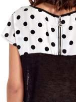 Czarny t-shirt z kieszonką w groszki                                  zdj.                                  6