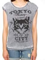 Czarny t-shirt z kotem i napisem TOKYO CITY                                                                          zdj.                                                                         8