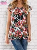 Czarny t-shirt z motywem egzotycznych kwiatów                                  zdj.                                  1