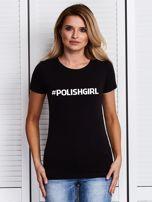 Czarny t-shirt z nadrukiem #POLISHGIRL                                  zdj.                                  1