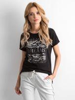 Czarny t-shirt z nadrukiem i koralikami                                  zdj.                                  1