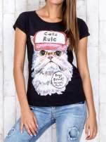 Czarny t-shirt z nadrukiem kota i napisem CATS RULE                                  zdj.                                  1