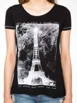 Czarny t-shirt z nadrukiem wieży Eiffla                                                                          zdj.                                                                         7