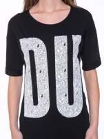 Czarny t-shirt z nadukiem DUDE z przodu i na plecach                                  zdj.                                  7