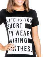 Czarny t-shirt z napisem LIFE IS TOO SHORT TO WEAR BORING CLOTHES                                  zdj.                                  5