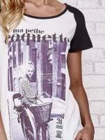 Czarny t-shirt z napisem MA PETITE COQUETTE