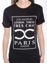 Czarny t-shirt z nazwami stolic mody                                                                          zdj.                                                                         6